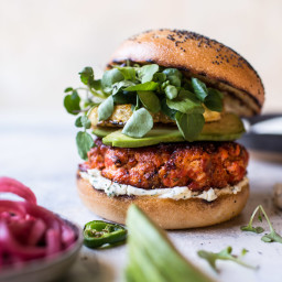 Blackened Salmon Burgers with Herbed Cream Cheese.