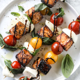 Blackened Salmon Caprese Skewers