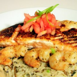 Blackened Salmon w/ Wild Rice & Cajun Alfredo
