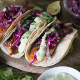 Blackened Tilapia Tacos with Red Cabbage and Avocado Crema