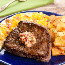 Blade Steak with Dried Tomato-Oregano Butterwith smoky creamed corn and pan