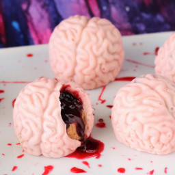 Bleeding PB and J Brains - Peanut Butter Fudge and Jelly Filled Candy Brain
