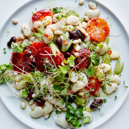 Blood Orange and Mixed Bean Salad with Sprouts