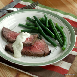 Blue Cheese Sauce on London Broil and Green Beans