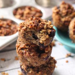 Blueberry Banana Muffins with Walnut Struesel