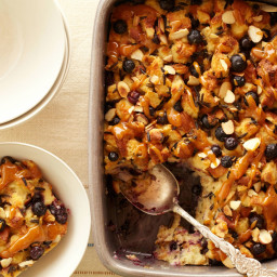Blueberry Bread and Rice Pudding with Orange Caramel Sauce