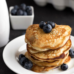 Blueberry Lemon Ricotta Pancakes with Blueberry Compote