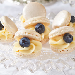 Blueberry-Pearl French Macarons
