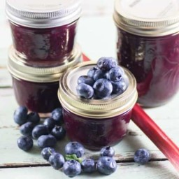 Blueberry Rhubarb Jam is easy to make and doesn't need any pectin to g