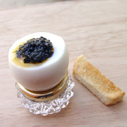Boiled Egg with Black Caviar