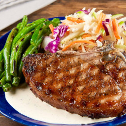 Bone-In Pork Chop with Alabama-Style BBQ Saucewith Granny Smith apple slaw
