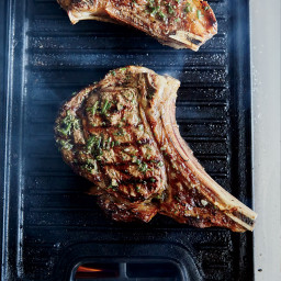 Bone-In Rib Eye Steaks with Grilled Onion Jam