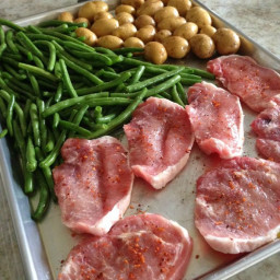 Boneless Pork Chops and Veggies Sheet Pan Dinner