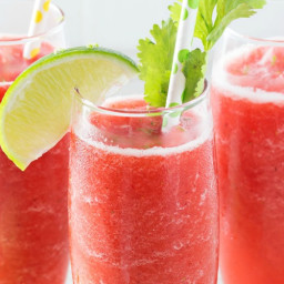 Boozy Strawberry Limeade Slushies