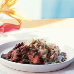 Bourbon and Brown Sugar Flank Steak with Garlic-Chive Mashed Potatoes