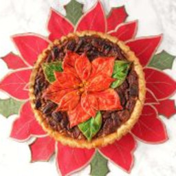 Bourbon Pecan Pie with Painted Poinsettia Crust Plus a Giveaway