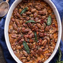 Bourbon Sweet Potato Casserole with Sweet 'n' Savory Bacon Pecans