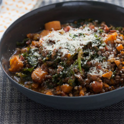 Braised Beluga Lentils with Kale and Rosemary