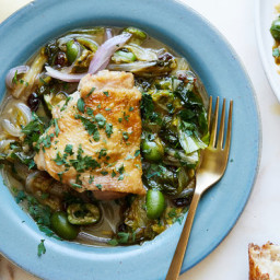 Braised Chicken Thighs With Greens and Olives