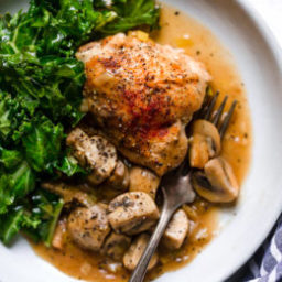 Braised Chicken Thighs with Mushrooms and Leeks