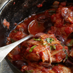 Braised Chicken Thighs with Olives and Basil