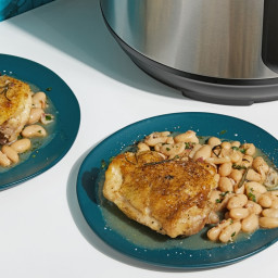 Braised Chicken Thighs With White Beans and Pancetta