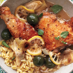 Braised Chicken With Artichokes, Olives, and Lemon