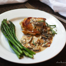Braised Chicken with Morel Cream Sauce