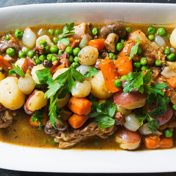 Braised Chicken with Potatoes, Carrots, Mushrooms and Peas