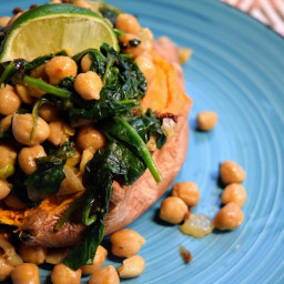 Braised Coconut Spinach and Chickpeas with lemon over ...