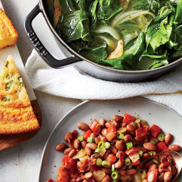 Braised Collard Greens & Bacon-Pepper Pinto Beans