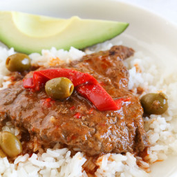 Braised Cubed Steak with Peppers and Olives Recipe (Instant Pot, Slow Cooke