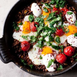 Braised eggs with lamb, tahini and sumac