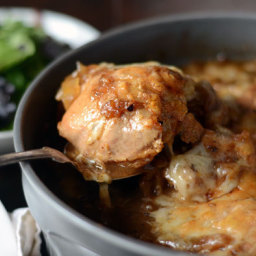 Braised French Onion Chicken with Gruyère