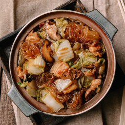 Braised Glass Noodles with Pork and Napa Cabbage