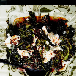Braised Greens with Aleppo Oil and Feta