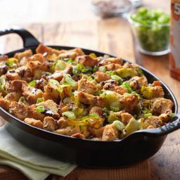 Braised Leek Bread Pudding