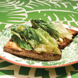 Braised Lettuce on Anchovy Toast