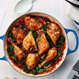 Braised Rotisserie Chicken With Bacon, Tomatoes, and Kale