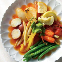 Braised Summer Vegetables with a Green Herb Sauce