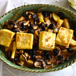 Braised Tofu with Potatoes, Cremini Mushrooms and Dried Cherries