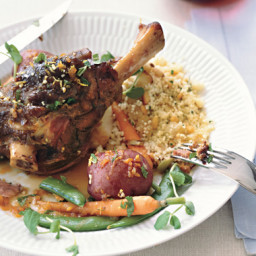 Braised Lamb Shanks with Spring Vegetables and Spring Gremolata