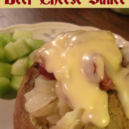 Bratwurst & Onion Stuffed Baked Potato with Beer Cheese Sauce