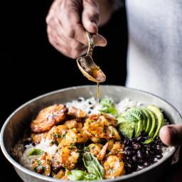Brazilian Inspired Honey Garlic Butter Shrimp In Coconut Milk with Fried Pl