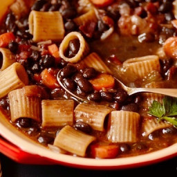 Brazilian Minestrone (Black Bean, Pasta, Bacon, and Vegetable Soup)