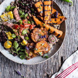 Brazilian Steak and Grilled Sweet Potato Fry Quinoa Bowl with Spicy Coconut