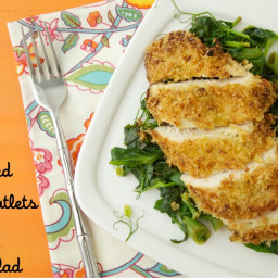 Breaded Chicken Cutlets with Pea Salad