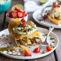 Breakfast Chimichangas with Avocado + Cajita Cheese.