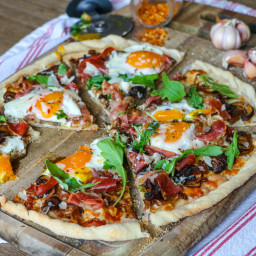 Breakfast Pizza with Crispy Prosciutto, Caramelized Onions, Mushrooms and A