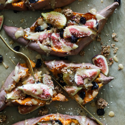 Breakfast Stuffed Sweet Potatoes with Maple Tahini, Fig, and Sesame, Fig, a
